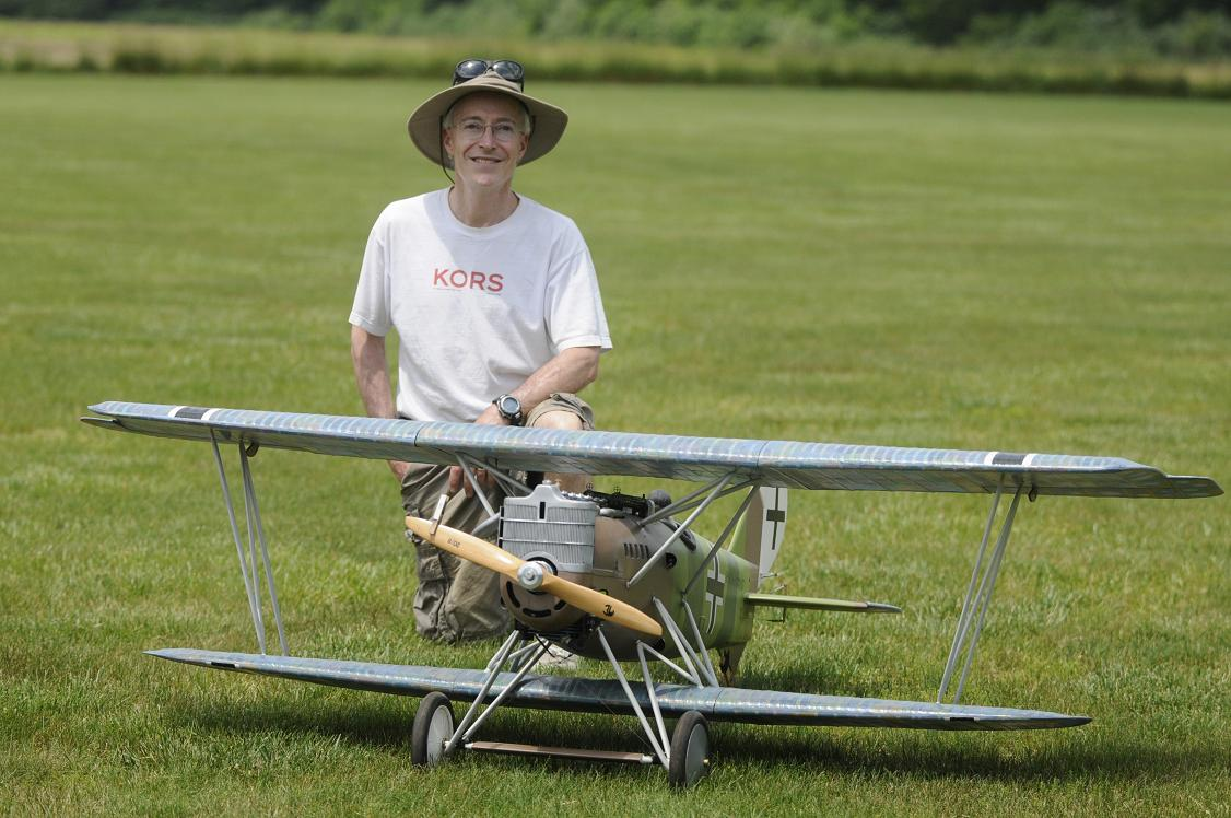 "2.	Seth Hunter of West Windsor, NJ with his scratch built 88"" PFALZ DXV WWI biplane weighing in at 23 lbs. and powered by a Fuji 43 gas engine."