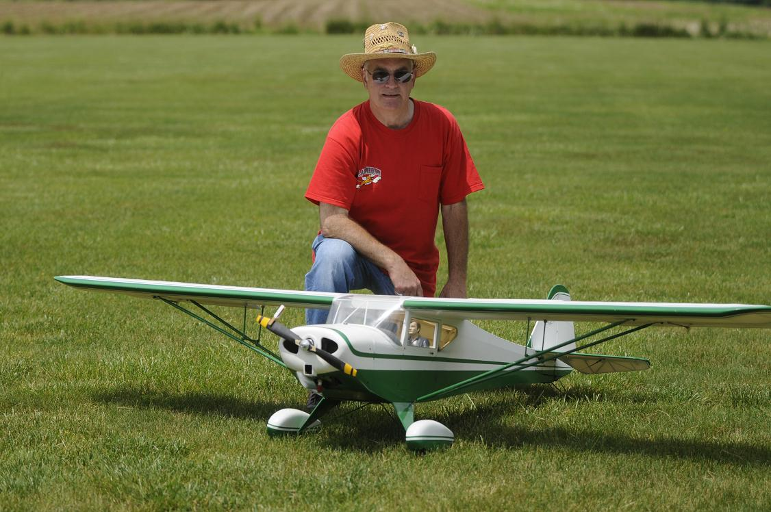 "Rick Andrese of Sussex NJ with his 104"" Taylor Craft powered by a Zenoah G26. Rick also brought his Balsa USA 106"" Nieuport 17."